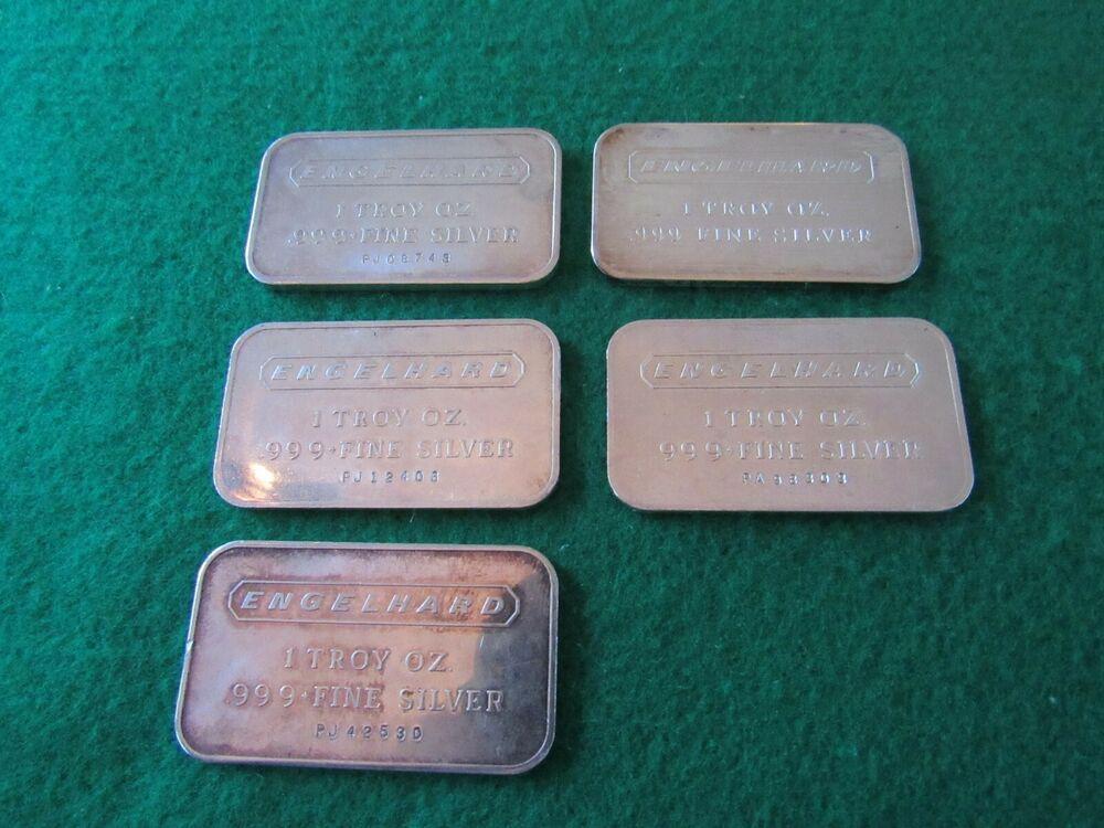 Vintage Engelhard 5 Pcs X 1 Troy Oz 999 Silver Bar 5 Oz Total Lot Silver Bars Silver Bullion Silver