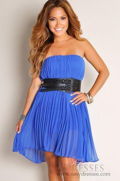 0d11bdd8248 Cute Royal Blue Flirty Fun Flowy Strapless Belted Waist Tube Top High-Low  Dress Talle  S Precio   80