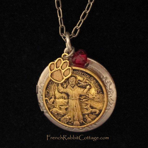 St francis of assisi necklace locket saint francis jewelry st francis of assisi necklace locket by frenchrabbitcottage1 aloadofball Choice Image