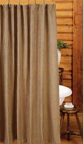 New Primitive Country Farmhouse Bath Black Tan Ticking Striped Shower C