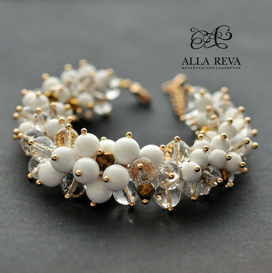 "Photo of Buy Bracelet ""Golden Rain"" – white, gold …"