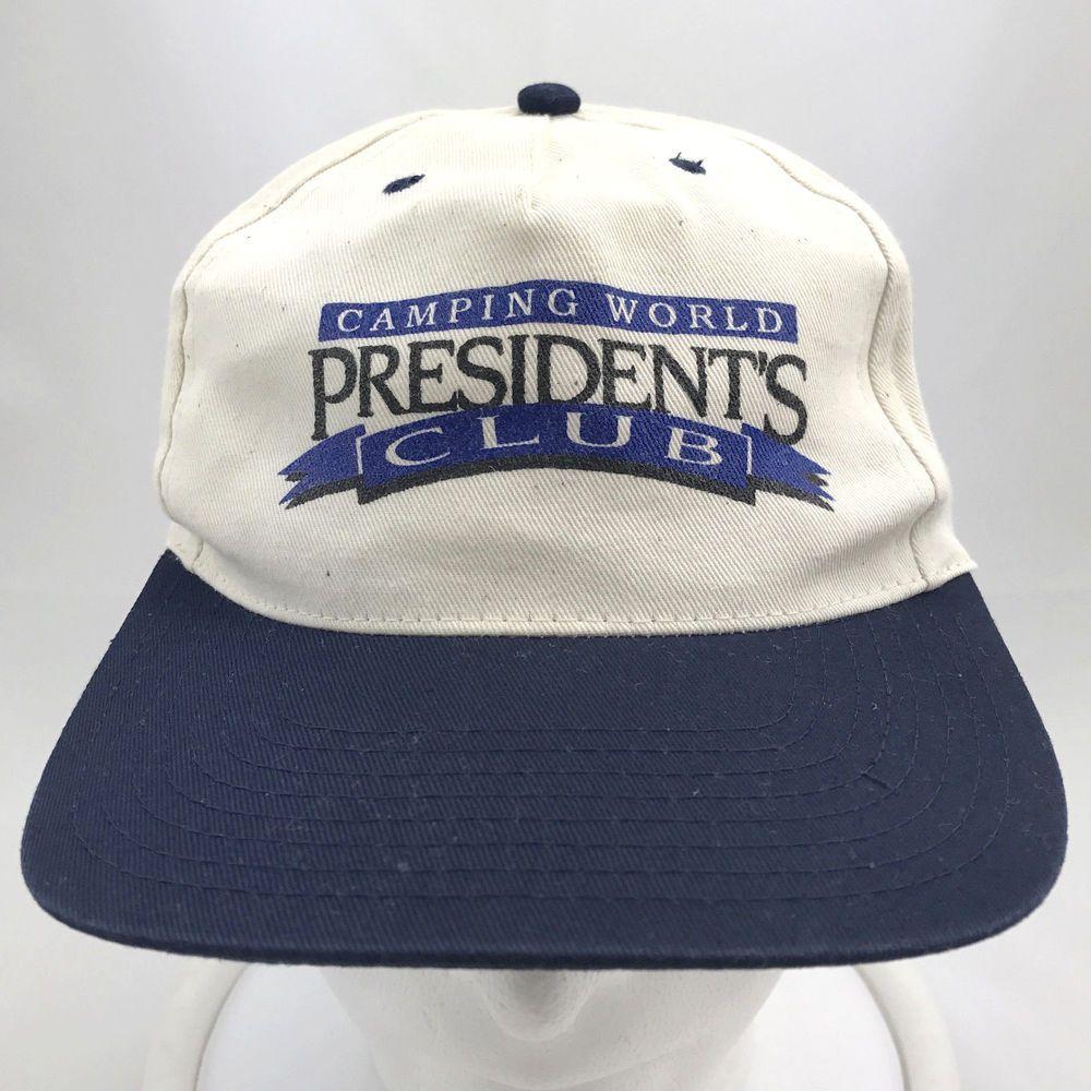 Camping World Presidents Club Snapback Hat Ball Cap Adjustable Headmaster Headmaster 5panel Ad Camping World Snapback Hats Unique Items Products