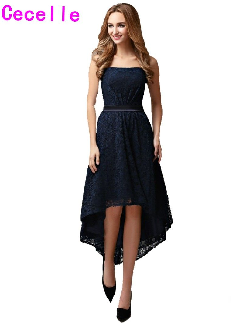 Click to buy ucuc real navy high low bridesmaid lace dresses