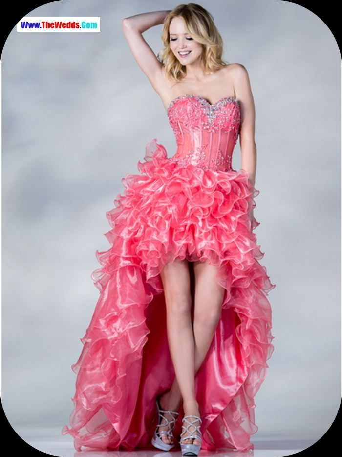 pink cheers high low prom dress | Prom Dresses | Pinterest