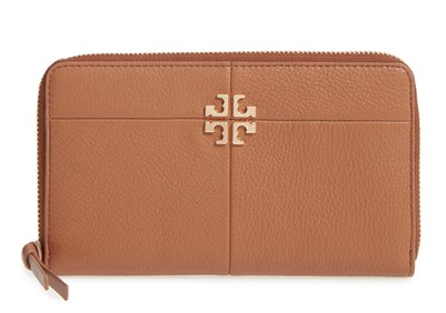 Women's Tory Burch 'Robinson' Leather Wallet on a Chain - Brown