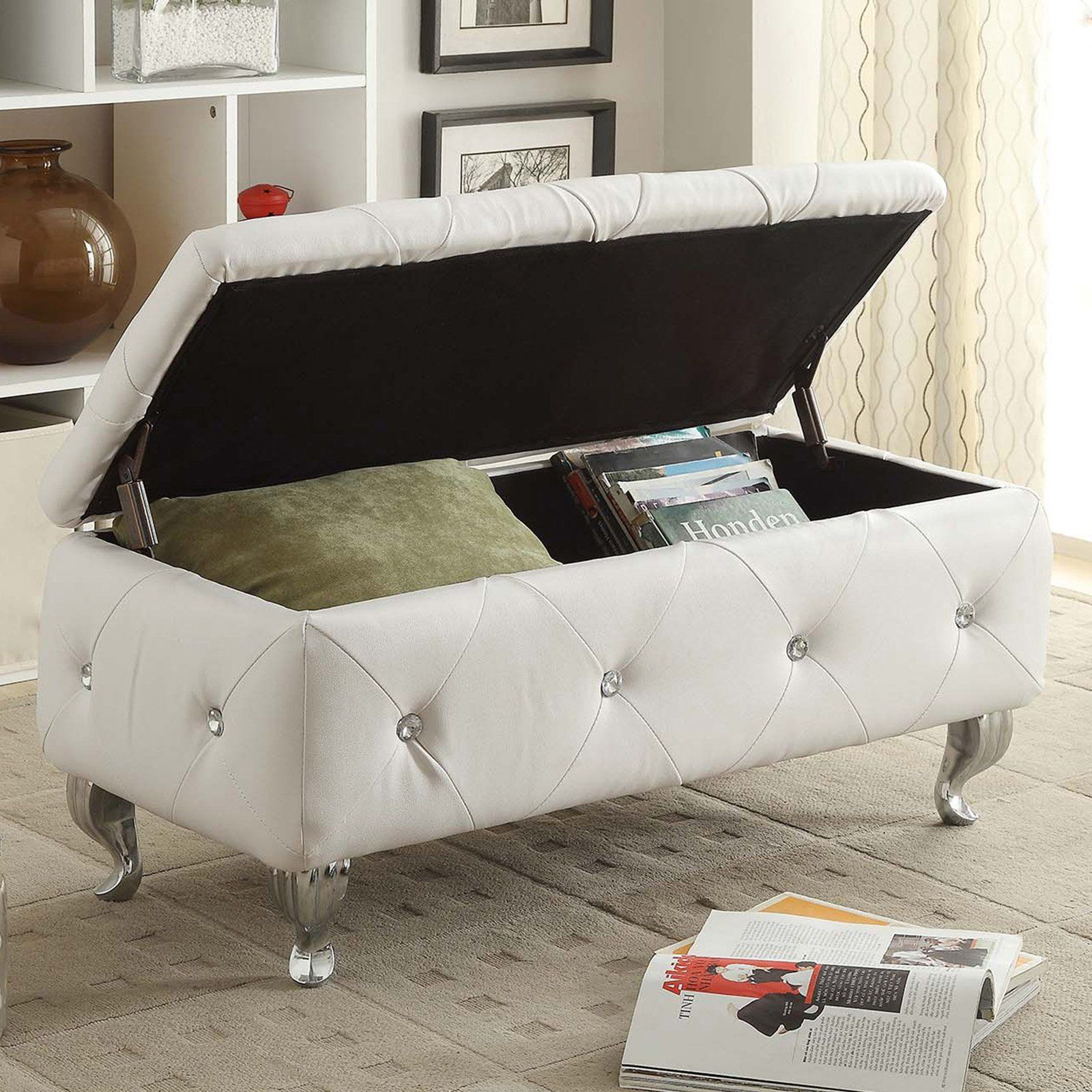 Enjoyable Christies Home Living Crystal Tufted Storage Bench White Inzonedesignstudio Interior Chair Design Inzonedesignstudiocom