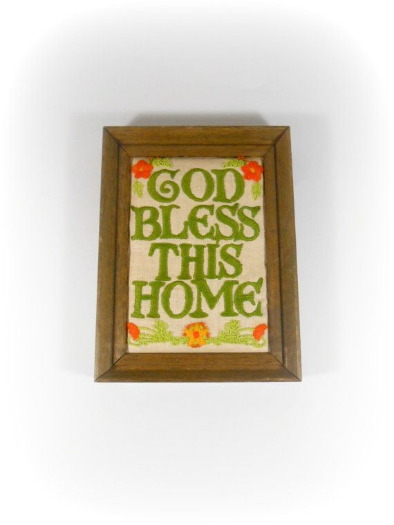 God Bless This Home Wall Art Needlework Needlepoint Crewel Floral ...