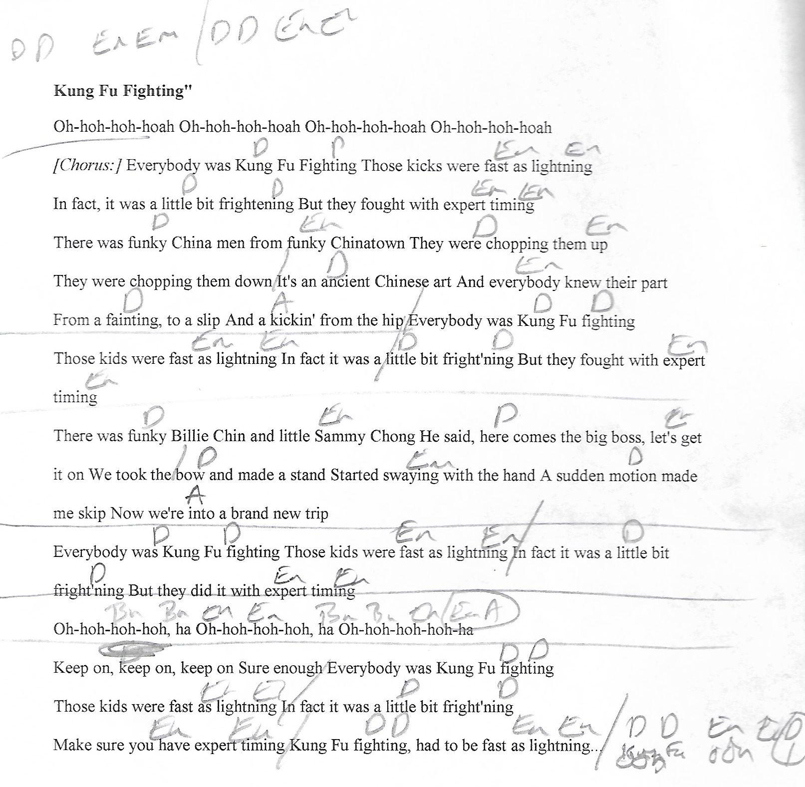 lighting cords. Kung Fu Fighting (Carl Douglas) D Major - Guitar Chord Chart With Lyrics Lighting Cords N