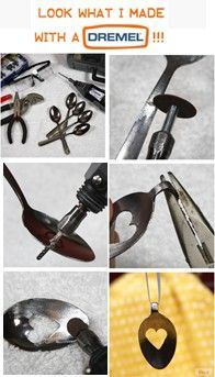 PENDANTS BY JEAN: step-by-step how to make simple designs with old spoons using basic dremel tools.