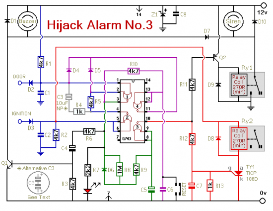 How To Build Hijack Alarm No 3 Circuit Diagram Electrical Projects Circuit Diagram Alarm