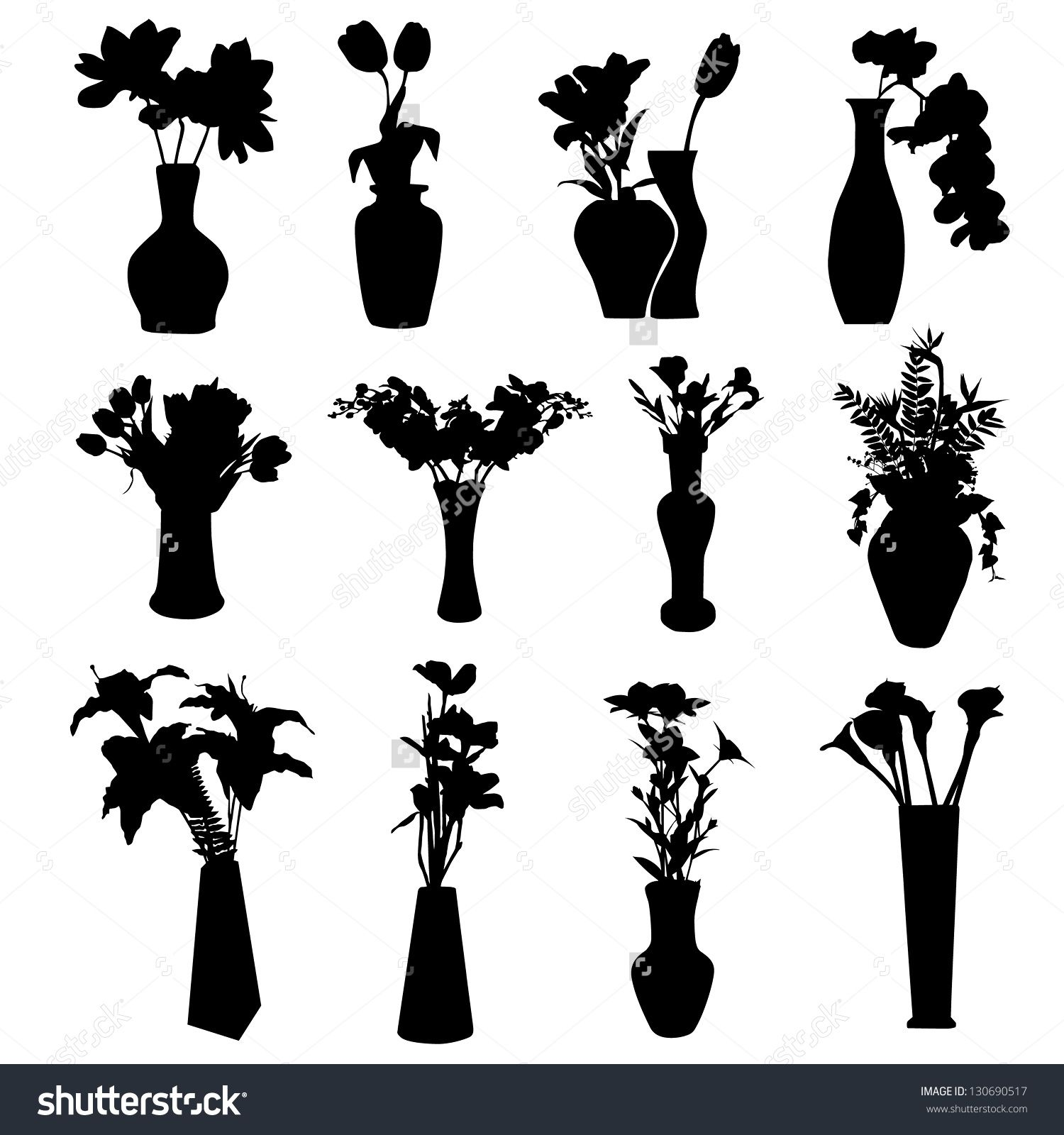 Stock vector flowers in vase collection silhouettes isolated stock vector flowers in vase collection silhouettes isolated reviewsmspy