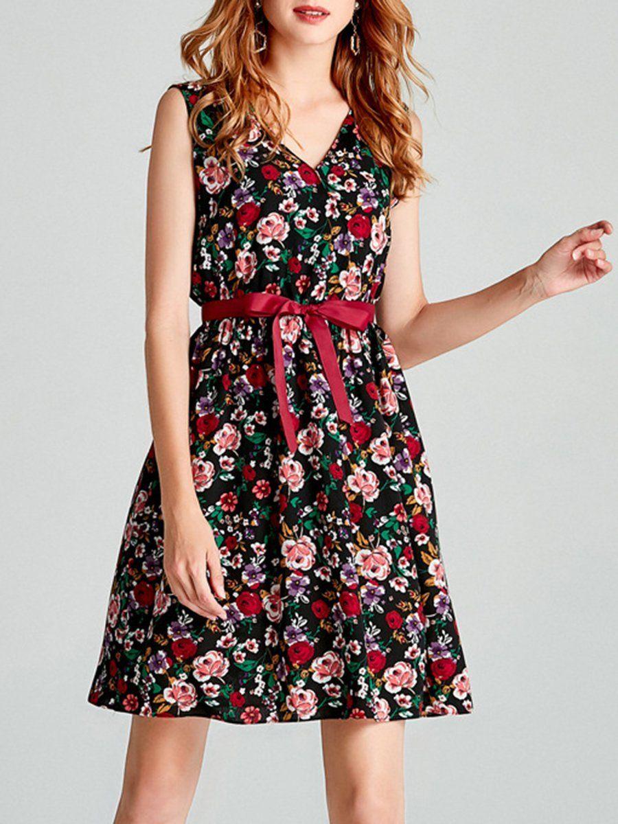 V Neck Belt Floral Printed Skater Dress Chiffon Summer Dress Summer Dresses For Women Slimming Mini Dresses [ 1200 x 900 Pixel ]