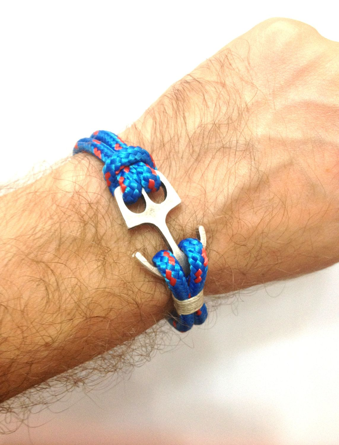 Nautical Sailing Bracelet With Anchor Claps Paracord Mens Rope Blue 17 00 Via Etsy