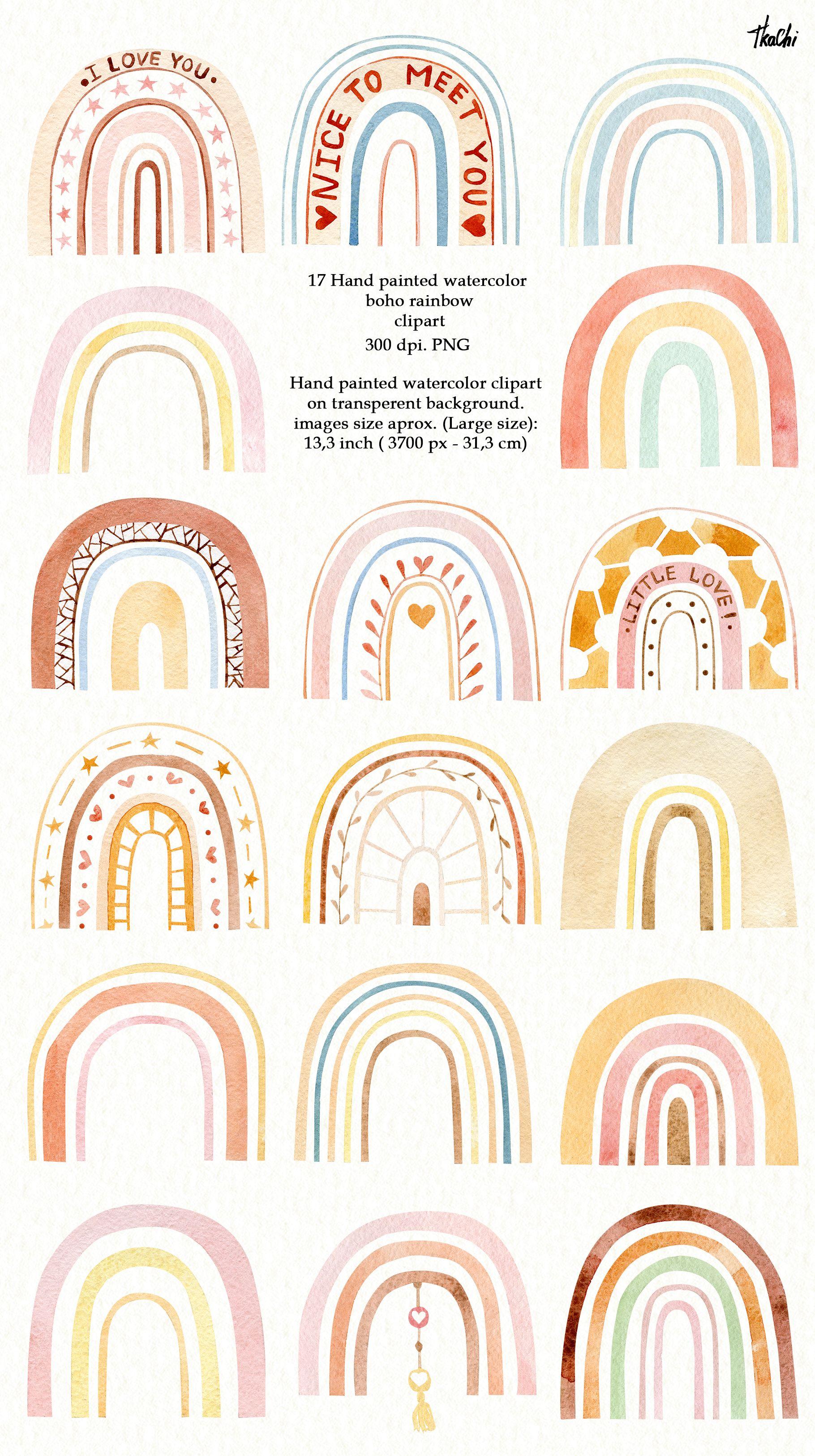 Watercolor rainbow clipart. Modern clipart. rainbow print.   Etsy ...