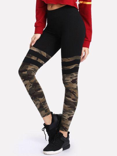 3b9f37ecd23e8 Camo Print Varsity Striped Leggings | pants | Camo leggings ...
