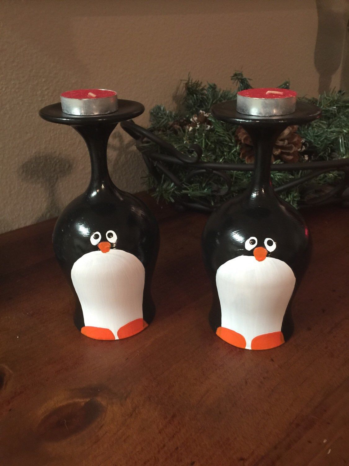 Hand painted christmas wine glass candle holders penguin