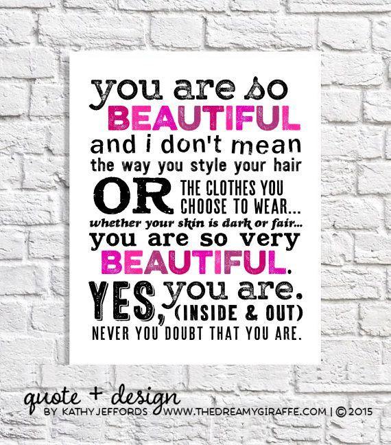 Quotes For Girls Bathroom Decor Hot Pink Wall Art Print Inner Beauty Teen Bedroom Inspiring Gift Tween Girl Room Body Positive Affirmation