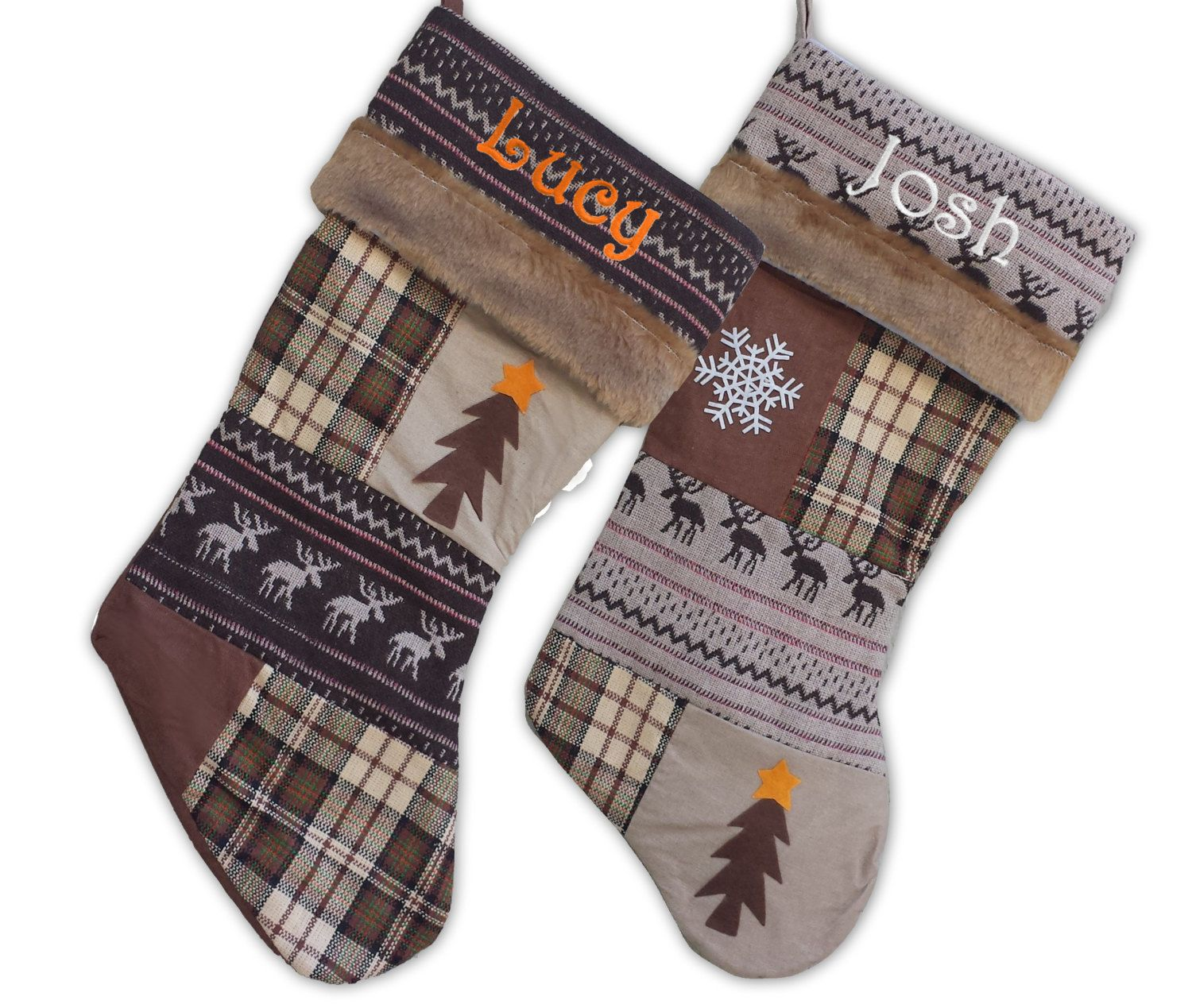 Rustic Lodge Christmas Stocking Embroidered Moose Tree Snowflake Plaid Patchwork Personalized Stockings Brown Beige Primitive Christmas Hunt by eugenie2 on Etsy https://www.etsy.com/listing/213240004/rustic-lodge-christmas-stocking