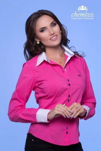 446adcd65 camisa social rosa feminina