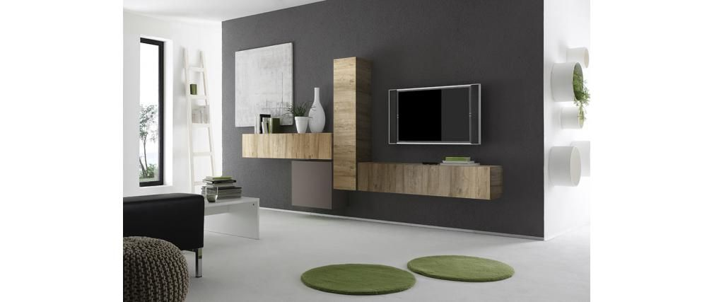 l ment mural design bois miel vertical colored v2 meuble tv pinterest mobilier meuble. Black Bedroom Furniture Sets. Home Design Ideas
