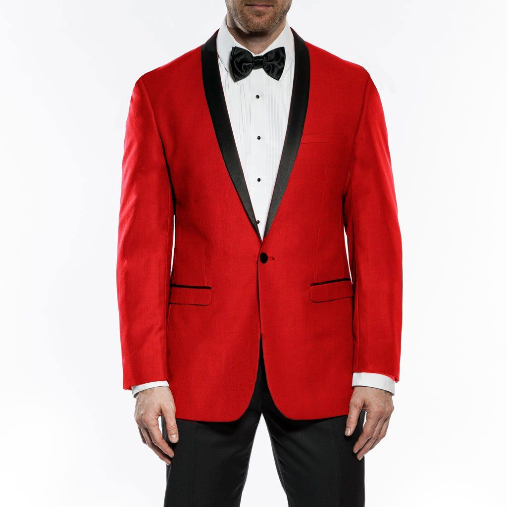 Kingsman Collection - Men's Shawl Collar Slim Fit Tuxedo Red 1 Button Design
