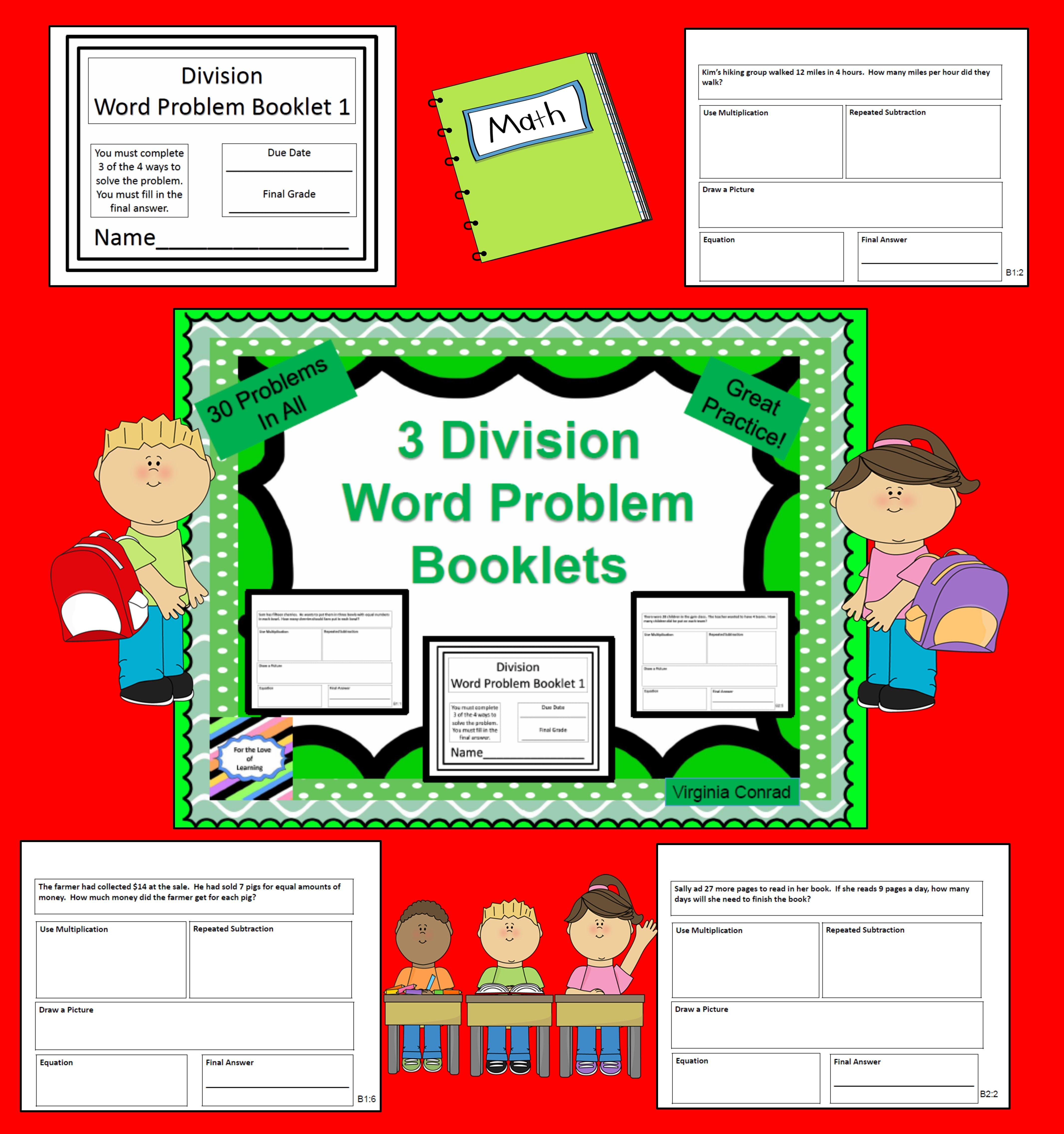 Basic Division Word Problem Booklets 10 Problems In Each