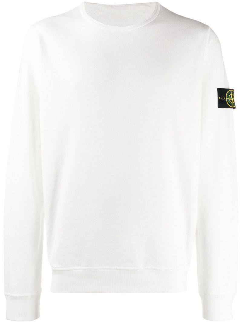 Stone Island Compass Badge Sweatshirt In V0099 White Modesens Sweatshirts Stone Island Sweatshirt Stone Island