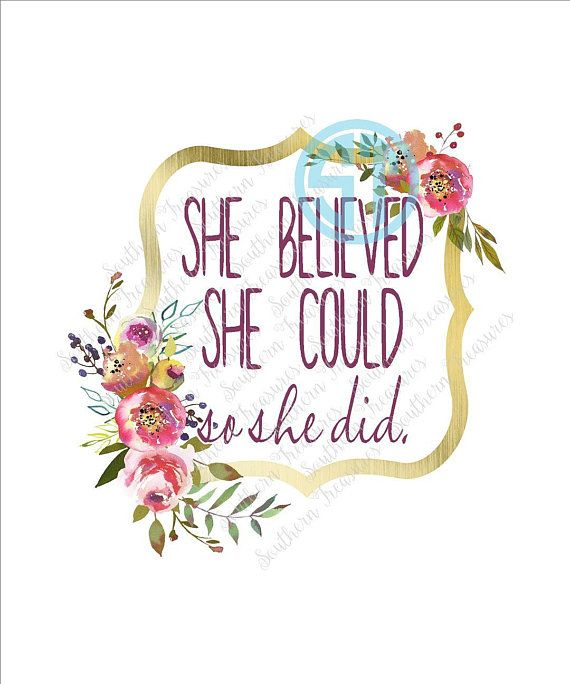 She Believed She Could So She Did Floral Frame Sublimation