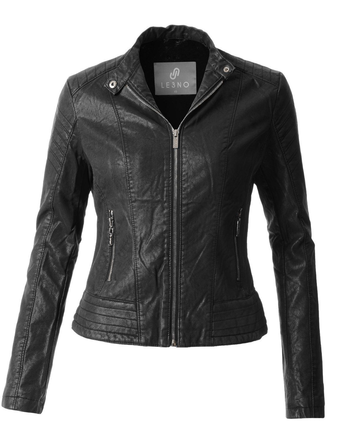 Sherpa Fur Lined Quilted Faux Leather Biker Moto Jacket