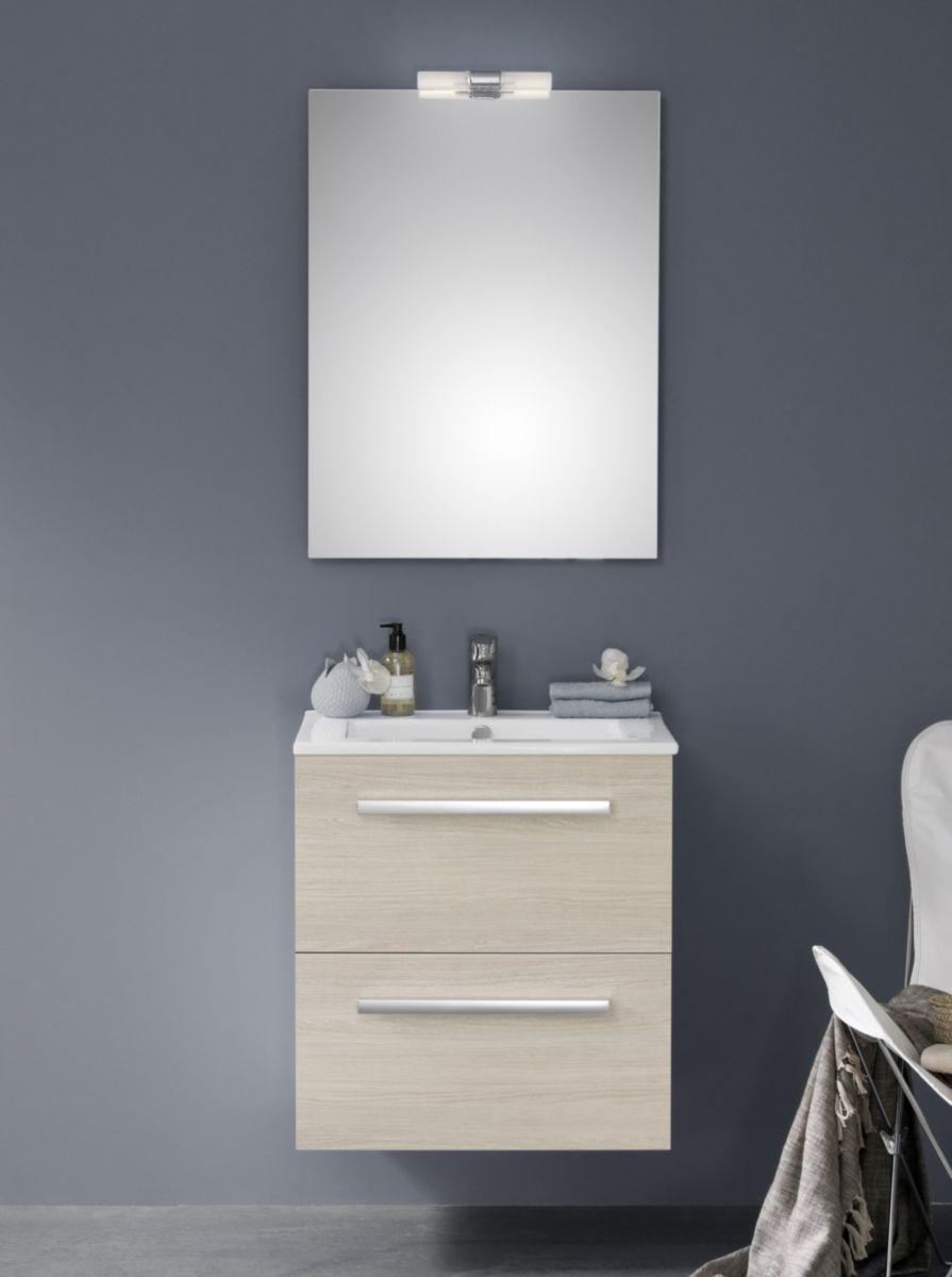 meuble 2 tiroirs 60 cm woodstock bois clair alterna sanitaire cedeo