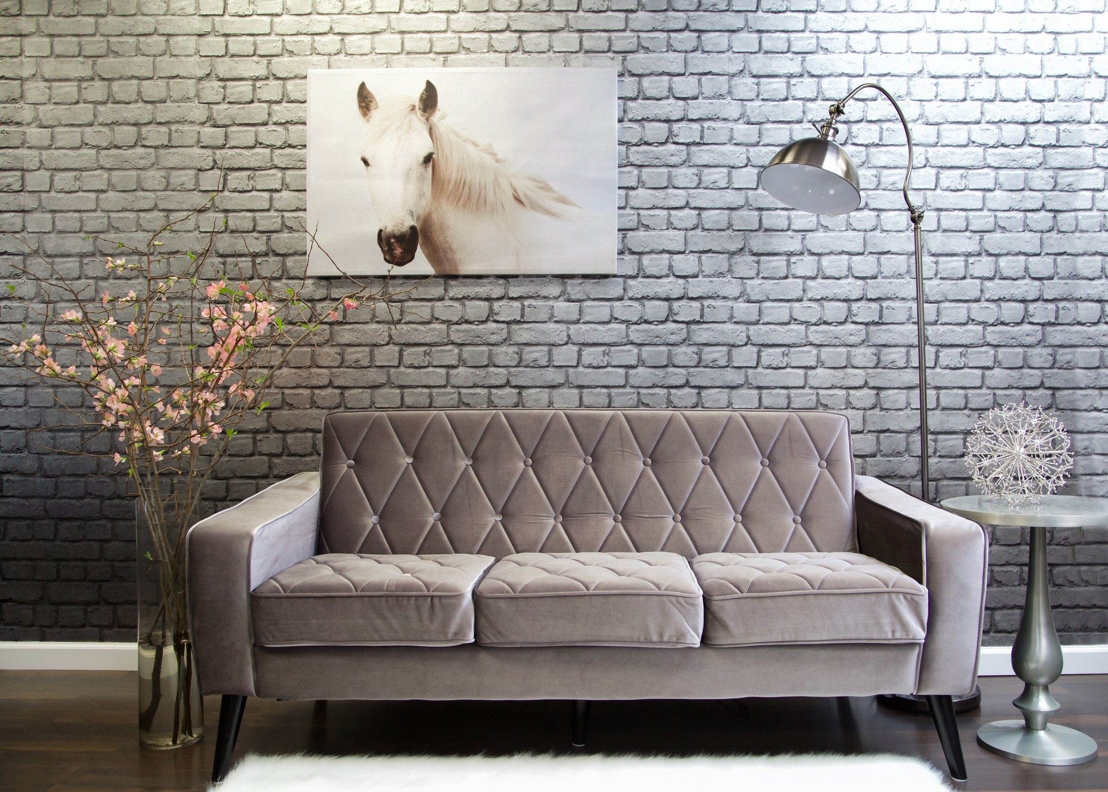 Bowery Gray Velvet Sofa | Home | Pinterest | Kiln dried wood, Gray ...
