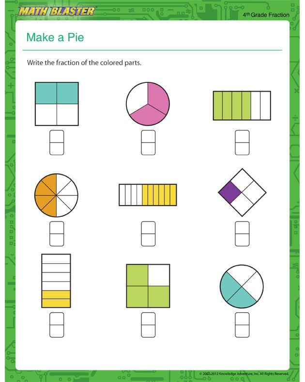 Make A Pie Fraction Worksheet For Kids Math Blaster Fractions Worksheets Math Resources Free Fraction Worksheets