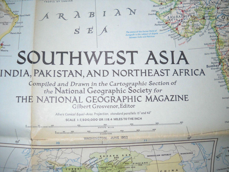 1952 Vintage National Geographic Map Southwest Asia, June 1952 Nat ...