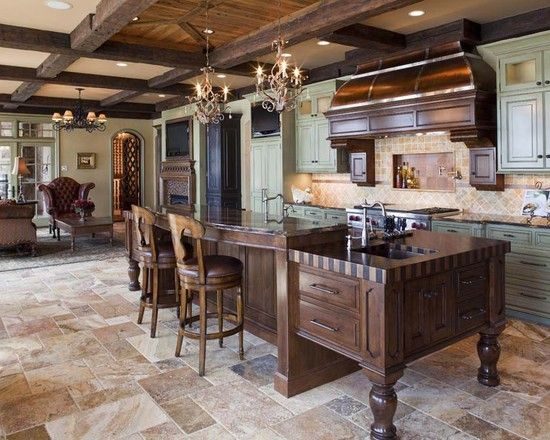 Kitchen With Travertine Floors & Sage Green Cabinets