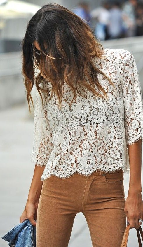 white lace top. tan trousers. #streetstyle
