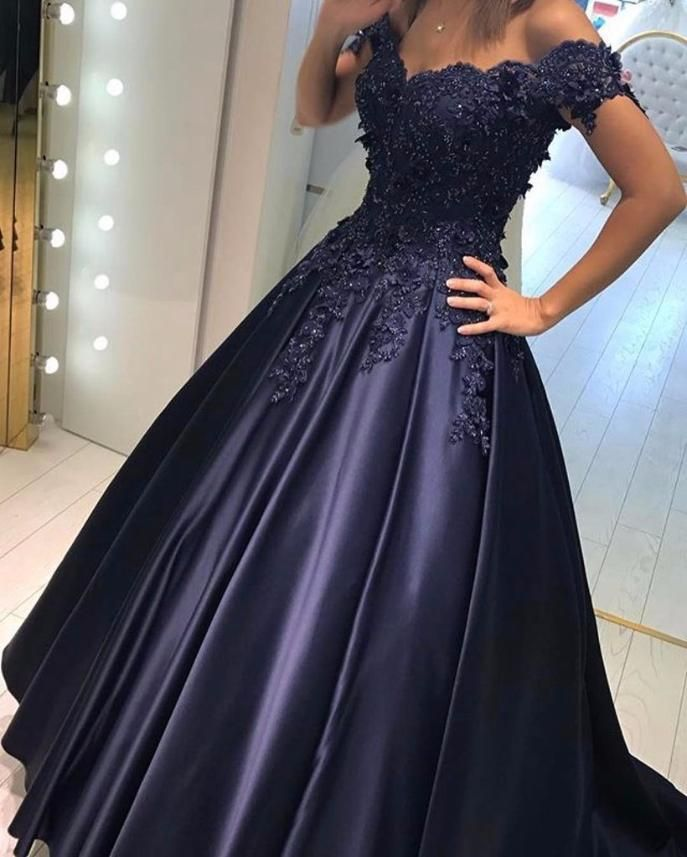 f5e315b6e2e Dresses Video Shows Item Description   A Glamorous Formal Fit Satin  DressWith V-neck And Off The Shoulder Neckline.Puffy Skirts with Lace-up  Back design ...