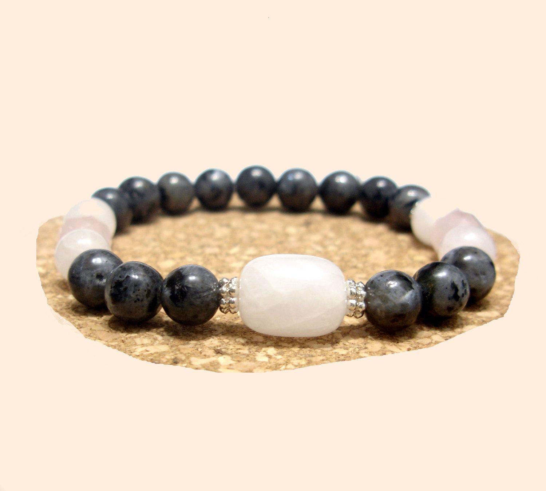 White Rose Quartz Bracelet, Gray Labradorite Bracelet, Unisex Bracelet, Mala, Healing Yoga, Handmade, Natural Stones Bracelet, Taurus, Libra de ArtGemStones en Etsy