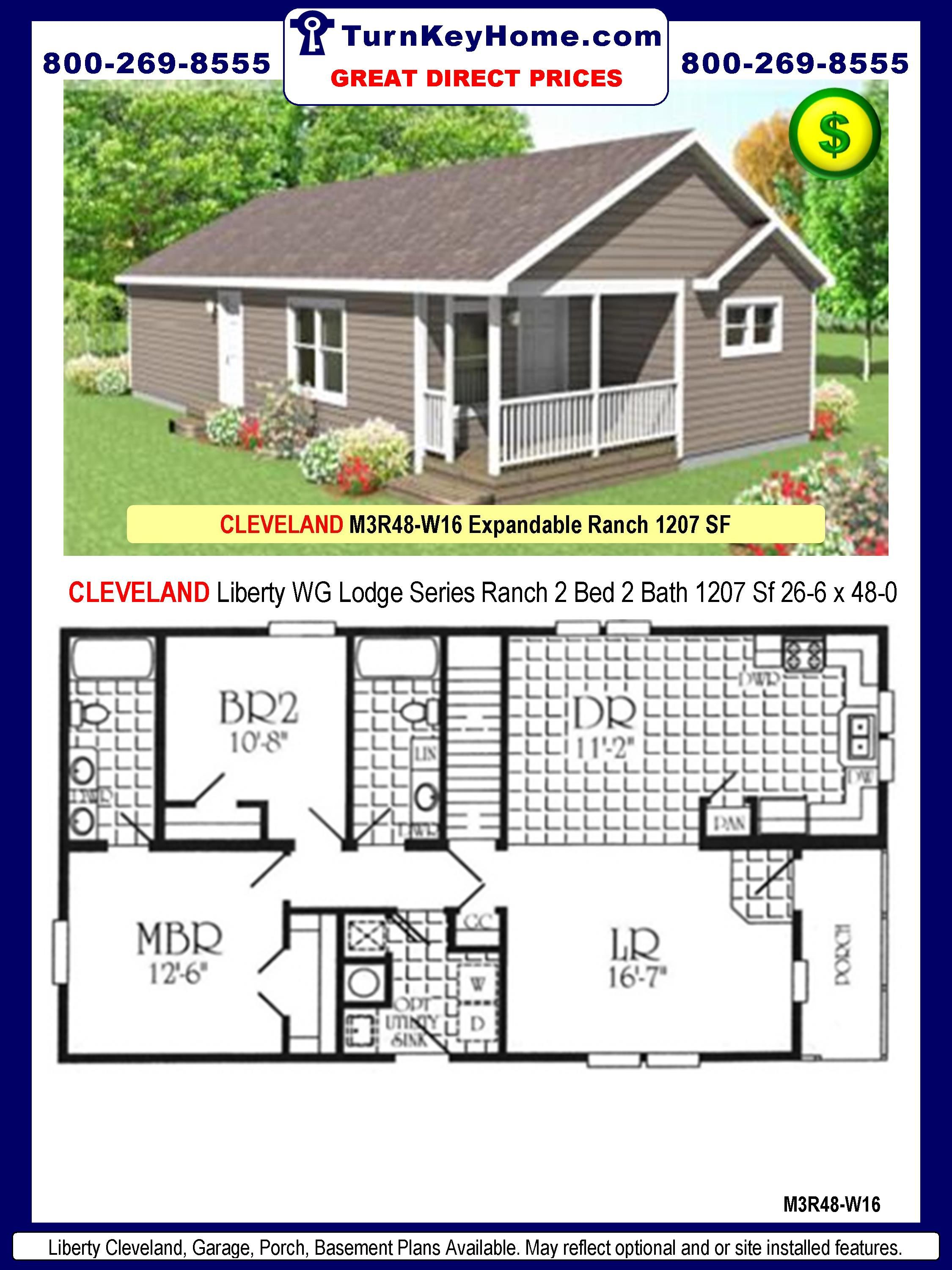 3 Bedroom 2 Bath manufactured home plans | Liberty Homes CLEVELAND ...