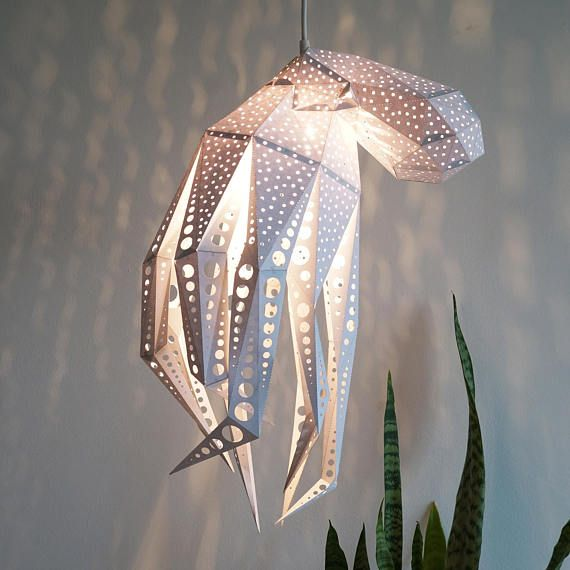 Octopus diy gift kit under the sea origami lampshade paper light shade nature lover gift geometric lamp minimalist lamp 3d papercraft