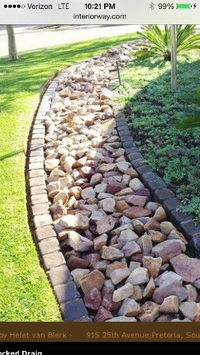 Lg Rock For French Drain Backyard Landscaping Backyard Landscaping With Rocks