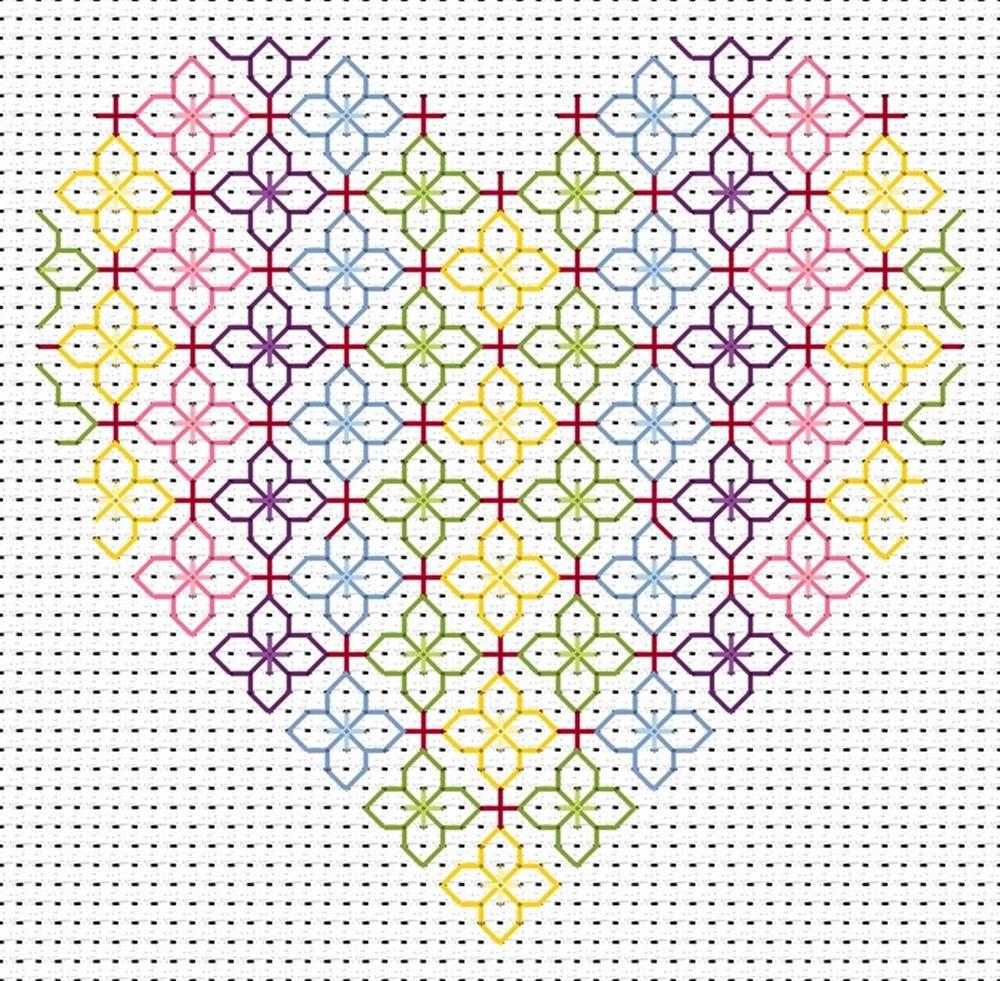 Blackwork heart card cross stitch fat cat ck ht