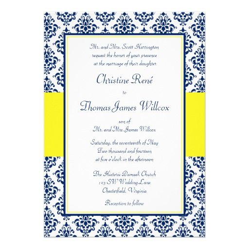 Navy Blue and Yellow Damask Wedding Invitations