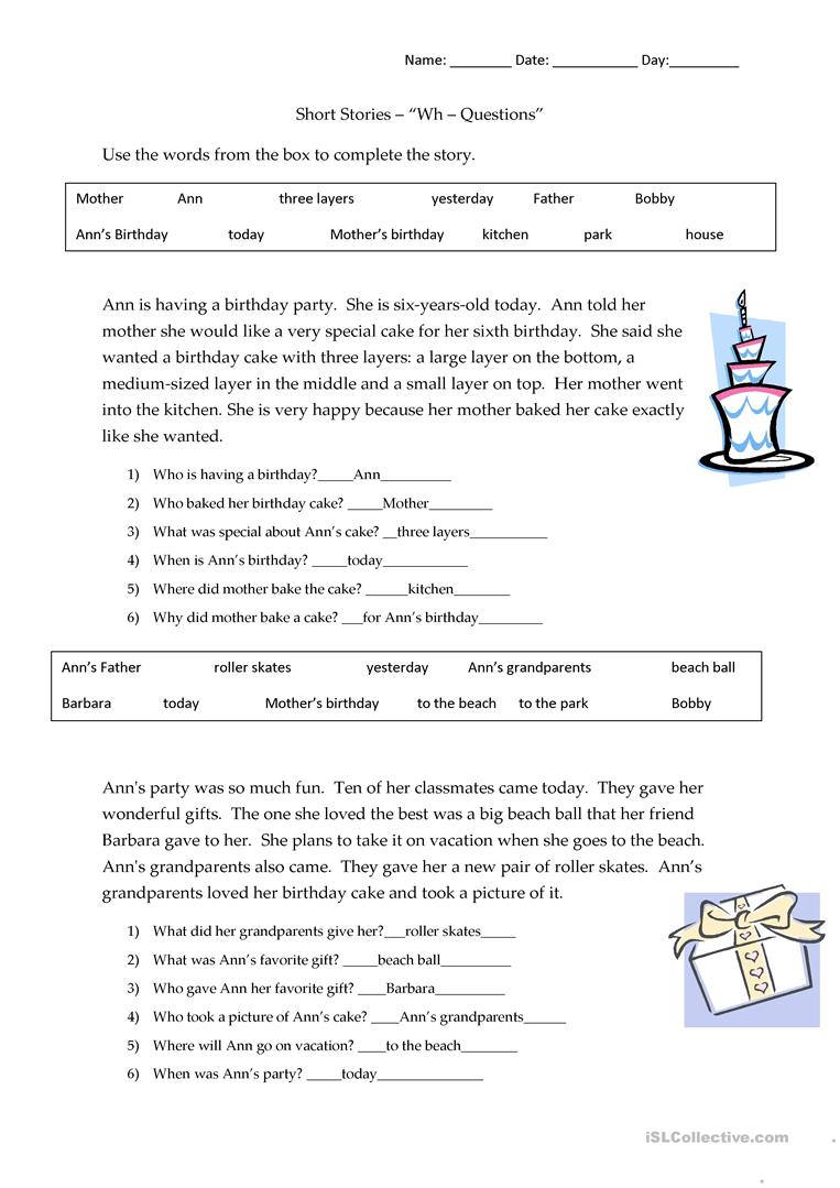 Short Stories Wh Questions Answers English Esl Worksheets Reading Comprehension Worksheets Wh Questions Comprehension Worksheets [ 1079 x 763 Pixel ]