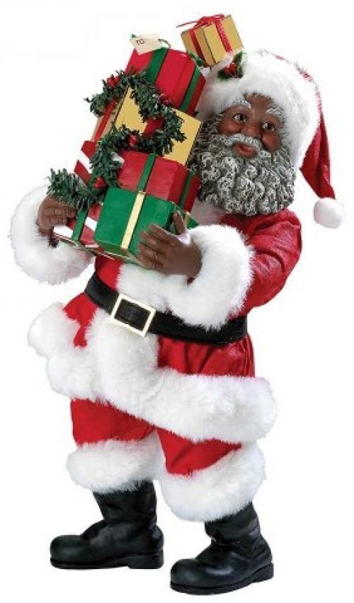 African american santa figurine with gift packages inch
