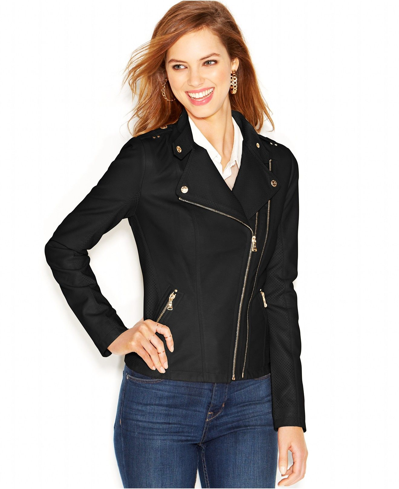 Guess Dual Zip Faux Leather Moto Jacket Coats Women Macy S Coats For Women Jackets Faux Leather Moto Jacket [ 1616 x 1320 Pixel ]