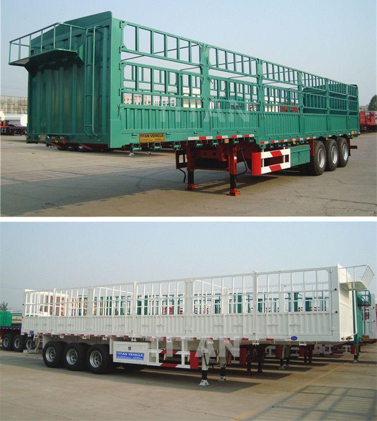 3 Axle 40-60 Ton Side Wall Semi Trailer Stake Animal