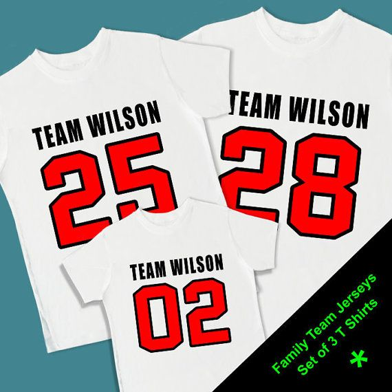 8b3c9af517b Family Team Number Jerseys. Set of 3 Personalized T Shirts (2 adults   1  Toddler). Football Baseball Basketball Soccer Sports (1059S)