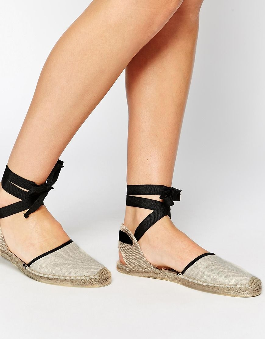 Soludos Classic Woven Tie Up Sand Flat Shoes at asos.com