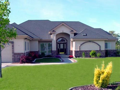 Stucco With Brick Accent House Colors House Front House Styles