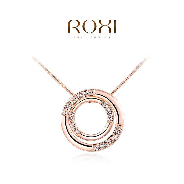 2017 roxi 브랜드 클래식 목걸이 더블 원 펜던트 여성 목걸이 골드 컬러 체인 목걸이 어머니의 날 선물